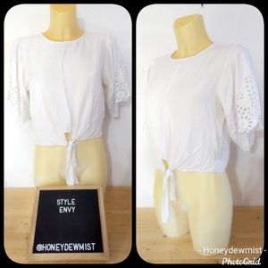 STYLE ENVY White Semi Crop Top with Tie Front